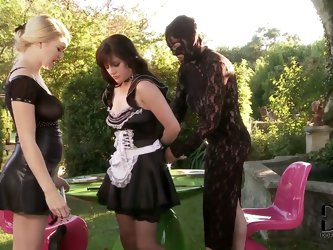 Elegant Tegan Jane and her kinky friend dressed head to toe in black lace costume decide to teach the clumsy maid Samantha Bentley a lesson and discip
