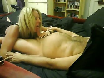 Blonde GF sucks on his small cock