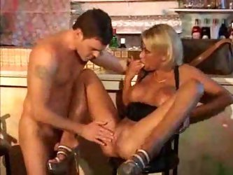 Super hot German blonde fucked in the bar