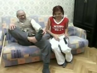 This redhead is ready to do anything to please this old fart because he has some extra cash. She blows his dick with passion. Then they fuck in sidewa