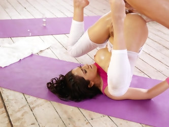 The Latina that loves yoga is smeared with lotion and her ass is getting spread open by her lover's strong hands and she is upside down at one po