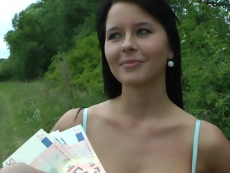 The gorgeous looking MILF is in nature with the dude she just recently met. The bloke is offering her some money in exchange for some sexual fun. The