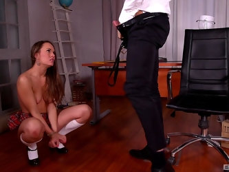 Teen in miniskirt Blue Angel spanked and fucked doggy style