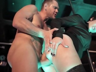 Harsh man fucks short-haired babe into orgasm on the stage