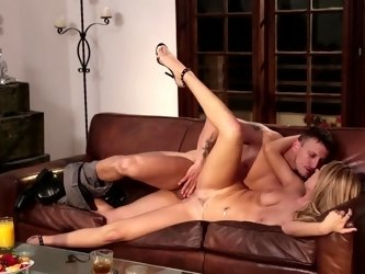 Hot blonde that loves to ride cock is fucked on the leather sofa