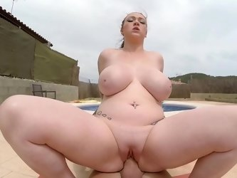 Any dude will desire to fuck this busty chick swimming nude in the pool