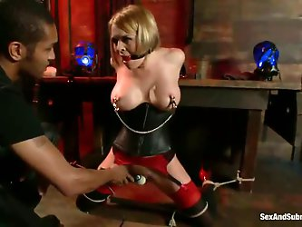 Mickey Mod is going to torture the living hell out of busty MILF Krissy Lynn tonight. Watch him tie her up, clamp her nipples and make her sit on a Hi