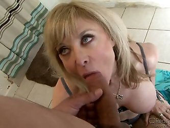 Amazing slutty whore - Nina Hartley staying on her knees with fucking big cock in her fucking deep throat! Enjoy the fucking hot show with one of the