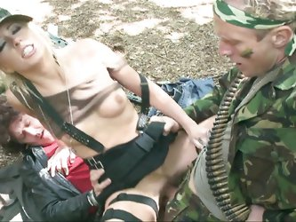 This blonde babe is a bad ass slut. She loves life in the army and a rough fuck too. First the army chick bends over and receives a hard pounding in h