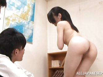Shino Tsubaki has to get naked in front of two of her students. They have devised a perverted game for her to play. They've blindfold the smoking