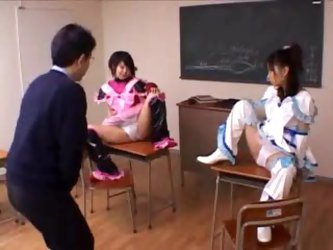 Cosplay Japanese girls in the classroom