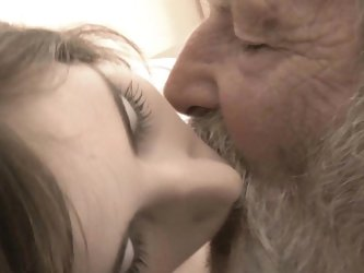 Thin blonde youngster swallowing and shafting grandpa