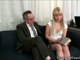 Geeky teacher gets his fat dick sucked by petite student babe Candy