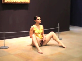 woman spreads her vagina at art museum in front of public