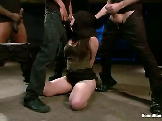 With that black bag over her head, Charlotte Vale cannot see even a single one of the studs that are fucking her face. She is so damn scared – and h