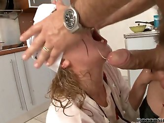 Little cute apprentice fucks everything up, her master gets angry because of her clumsiness and destroys her pussy, humiliating this gorgeous slut and