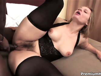 Turned on lusty whorish milf Magda with big juicy ass and natural tits in black stockings cheats her husband with horny handsome black stud in hardcor