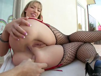 Turned on hungry for fuck whorish blonde Maya Hills with long nails in fishnet stockings and high heels spreads her but while teasing and gets her ass