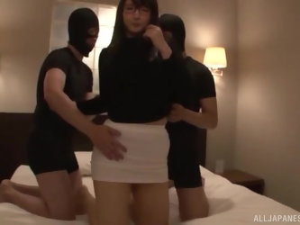 Busty nerdy Japanese MILF sodomized by two burglars