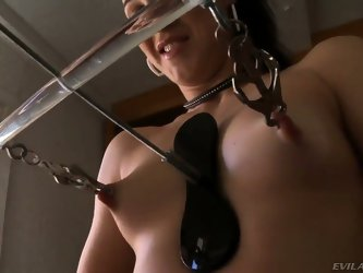 Sexual babe is punished hard and cruel for her bad behavior. She gets clothespins on her hard sensitive nipples before getting metallic clamps on them